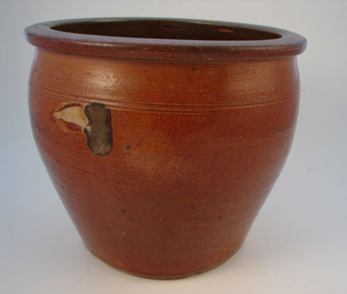 1022: L. Cowden Signed Antique Ovoid stoneware Crock in