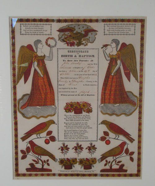 "Antique Folk Art Pennsylvania Fraktur. Marked ""G."
