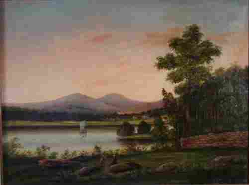 American Hudson River School Oil Painting on Canv