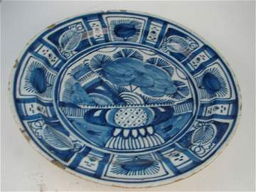 1209: Antique Blue and White Platter Cake Plate. Chips