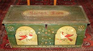 1237: Antique Paint Decorated Blanket Box. Later Pennsy