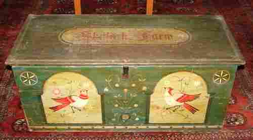 Antique Paint Decorated Blanket Box. Later Pennsy