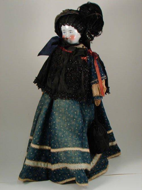 "2013: Antique German China Head Doll 19"". Luster cheeks"