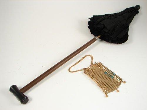 2015: Antique Child's Doll Umbrella Parasol Mesh Purse