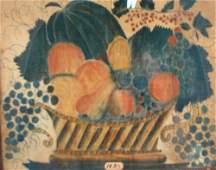 2052 Antique American Folk Art Theorem Still life on