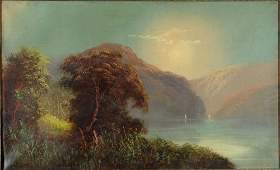 2125: Antique American Hudson River School Oil Painting
