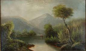 2126: Antique American Hudson River School Oil Painting