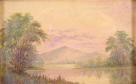2128: American Hudson River School Oil Painting on Canv