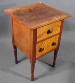 2067: Antique American Cherry & Tiger Maple Two Drawer