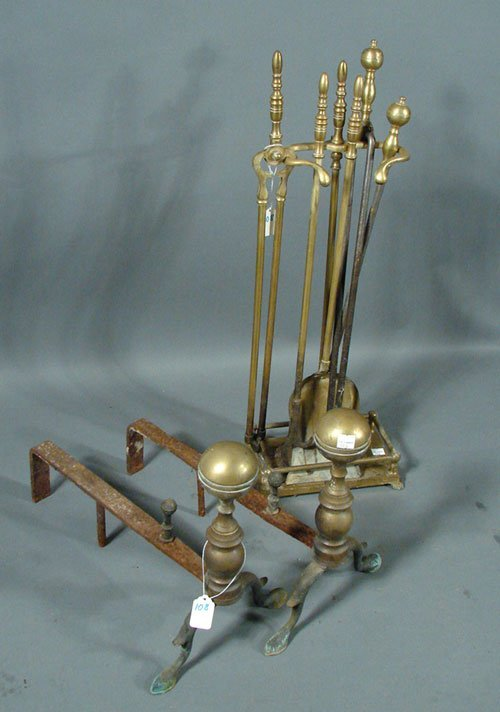 2108: Antique Brass Andirons and Fireplace Tools
