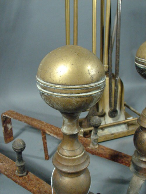2108: Antique Brass Andirons and Fireplace Tools - 2