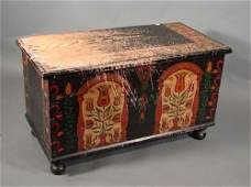 2272: Antique American Painted Pine Blanket Box. Pennsy