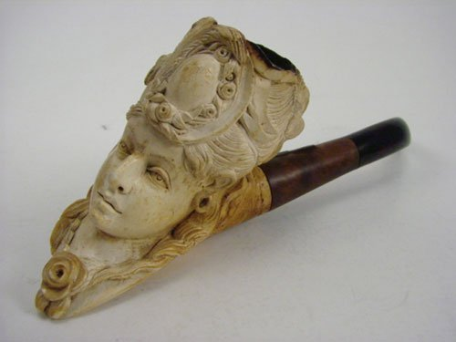 2: Antique Hand Carved Meerschaum Pipe in the figure of