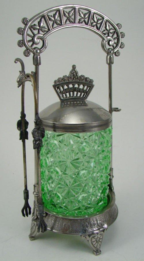 012A: Meriden Antique Silver Plate Pickle Caster