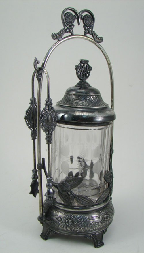 012B: Meriden Antique Silver Plate Pickle Castor with c