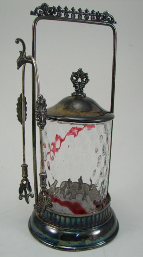 012E: Antique Silver Plate Pickle Caster with quilted c