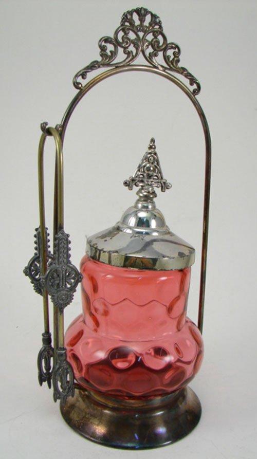 012F: Antique Silverplate & Cranberry Glass Pickle Cas