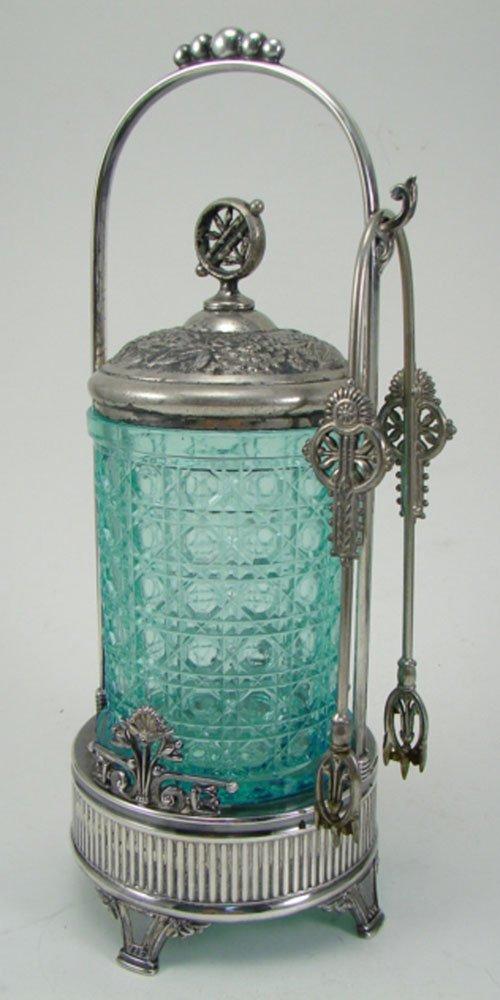 012G: Antique Silverplate & Blue Glass Pickle Castor