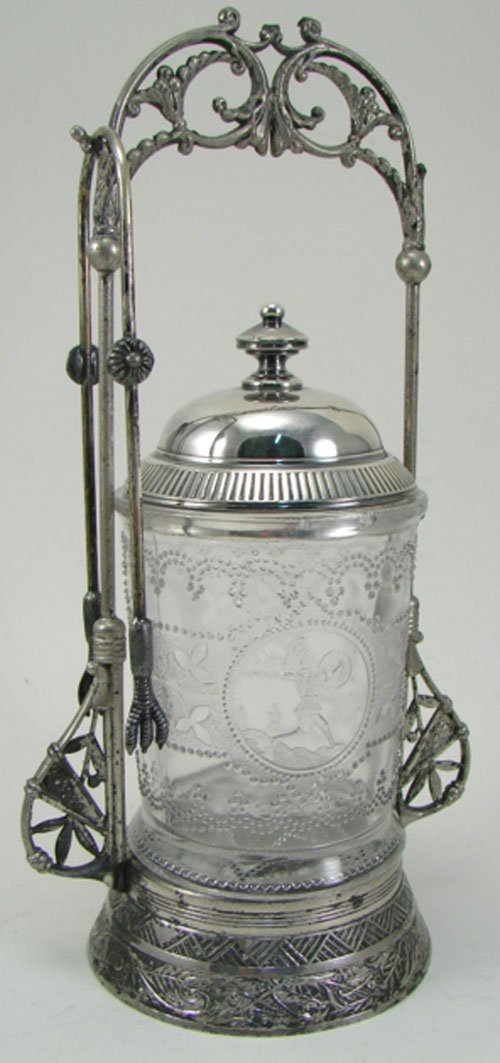 012H: Pairpoint Antique Silverplate & Glass Pickle Cast