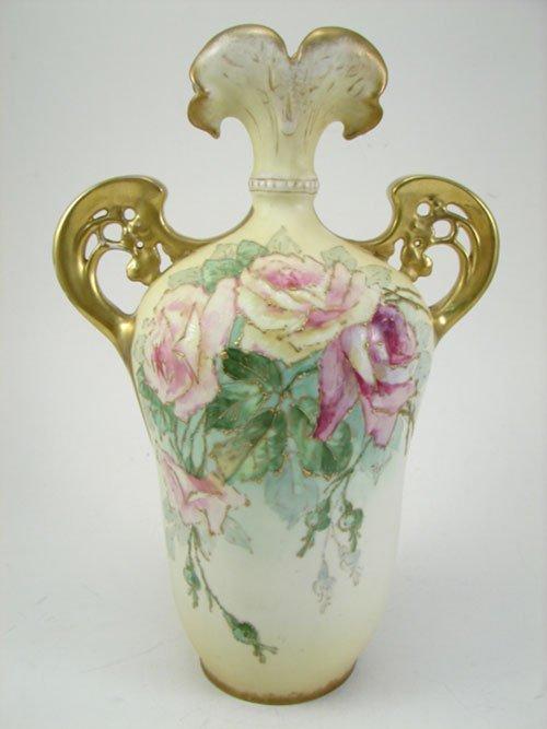 52: Teplitz Amphora Signed Art Nouveau Hand Painted Vas