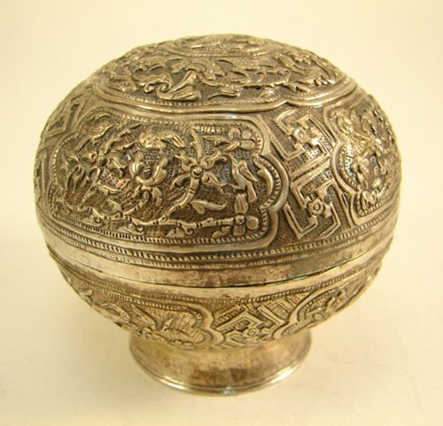 2007: Hand Tooled Silver Jar with low pedestal. Possibl