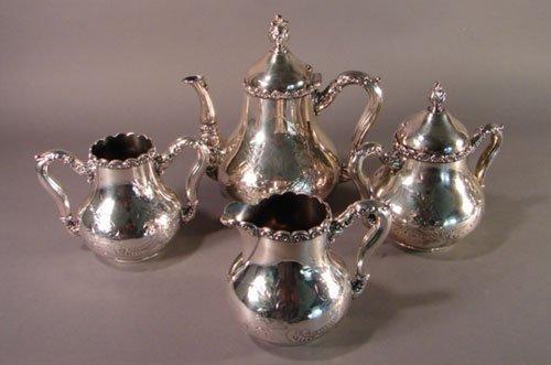 2009: Tufts 4pc Victorian Silver Plate Tea Set. Includi