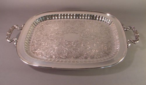 """2010: Silver Plate Footed Two Handled Tray Marked """"Cale"""