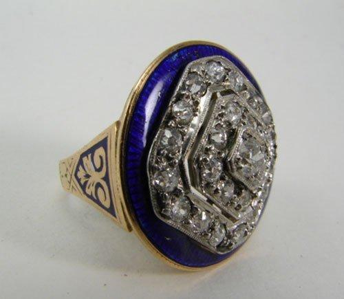 2021: 14k Rose & White Gold Enameled Ring. Consisting o
