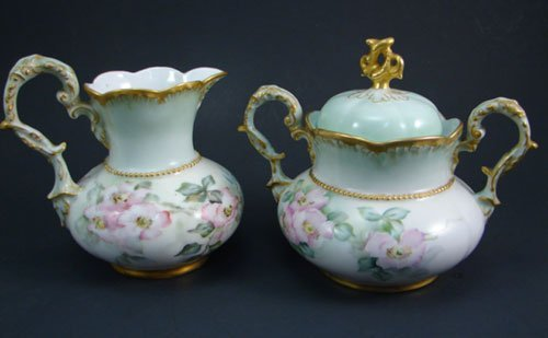 2159: C.T. Signed Fine Porcelain Cream Pitcher and cove