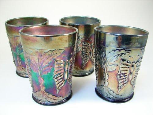 """1: 4 Carnival Glass Tumblers. 4""""h x 3"""" diameter"""