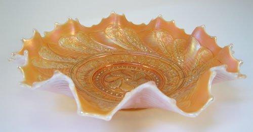 "3: Carnival glass bowl. 2 1/2""h x 9"" diameter"