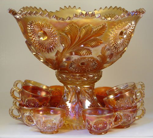 9: Carnival Glass Punch Bowl with Twelve Cups. Center b