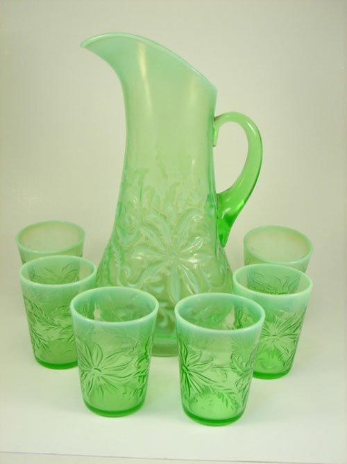 10: Northwood 7 Piece Vaseline Opalescent Lemonade Set