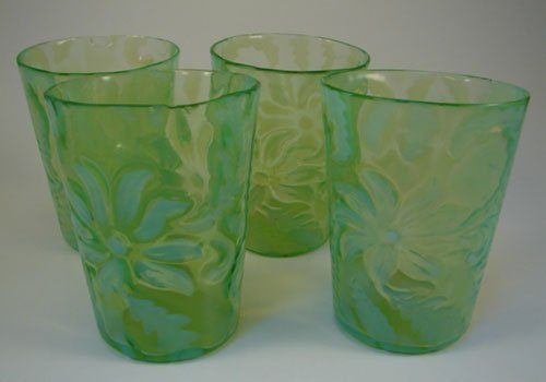 "12: Set of 4 Opalescent Vaseline glass Tumblers. 4""h x"