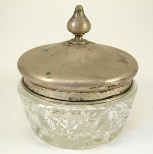 21: Sterling Silver and Cut Crystal Dresser Box with fi