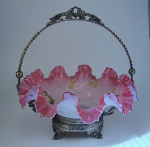24: Tufts Silver Covet Art Glass Brides Basket with Flo