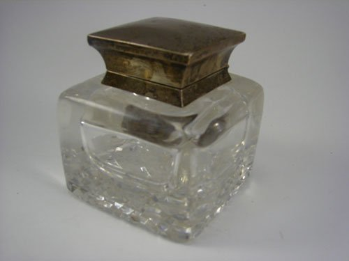 13: Antique Crystal & Sterling Silver Large Inkwell wit
