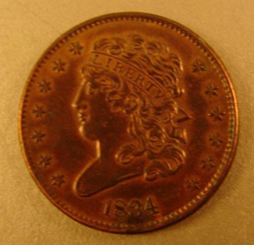 1201: 1834 Half Cent UNC