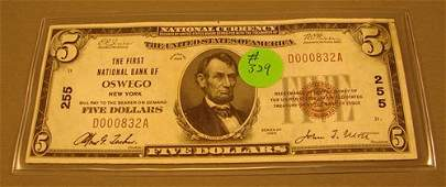 1329: $5 small National Currency 1929 1st National Bank