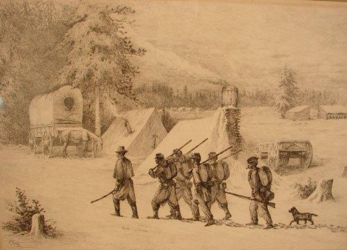 1101: Edwin Forbes American Civil War Scene Print plate