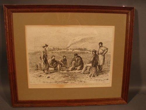 1103: Edwin Forbes American Civil War Scene Print. Titl