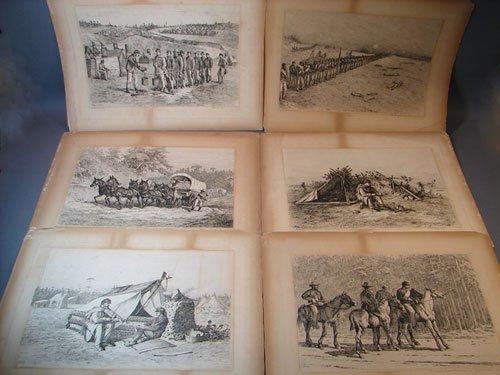 1104: 6 Edwin Forbes American Civil War Scene Prints. U