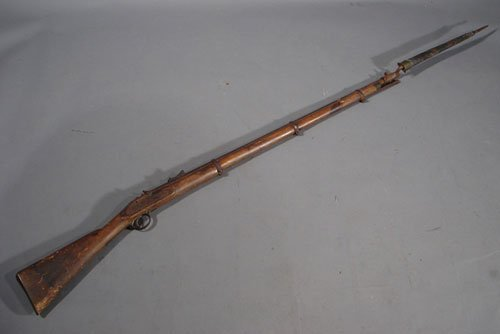 "1113: Civil War Musket & Bayonet. Marked ""Tower 1861"""