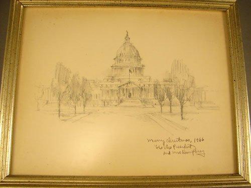 1119: Hubert Humphrey Political Item. 1966 Christmas Ca