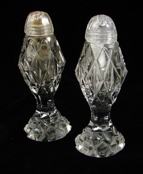 """2007: Pair Fine Cut Crystal Salt and Pepper Shakers 5""""h"""
