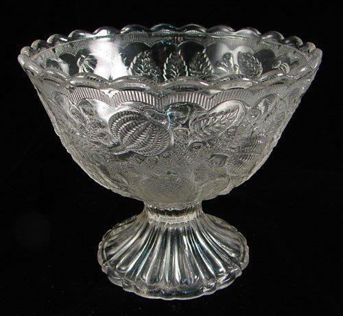 2010: Pressed Pattern Glass Bowl on low Pedestal. Lion