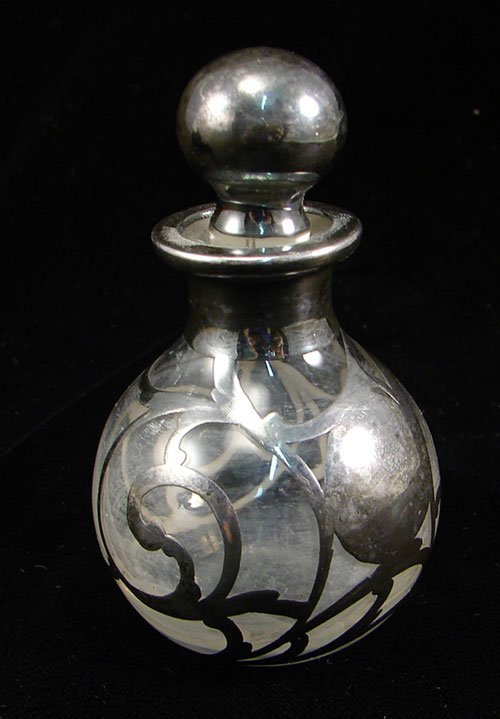 """2013: Antique Scent Bottle with Silver Overlay 3 1/2""""h"""