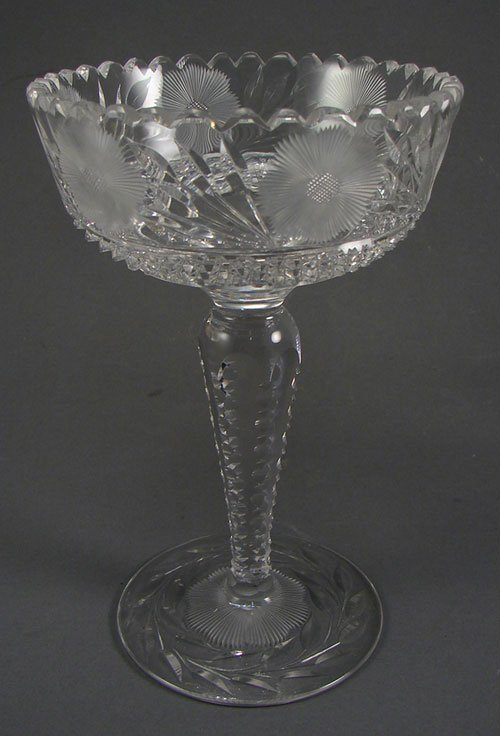 "2014: Cut Glass Pedestal Bowl. Gorgeous!! 8 1/4""h x 5""d"