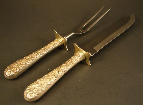 17: Kirk Repousse Sterling Carving Set. includes 10 1/4
