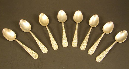 21: Eight Kirk Repousse Demitasse Spoons. 3.18 troy oz.